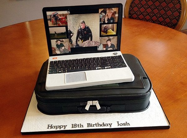 Laptop Cake, with sugar laptop and cake sculpted into a laptop bag.