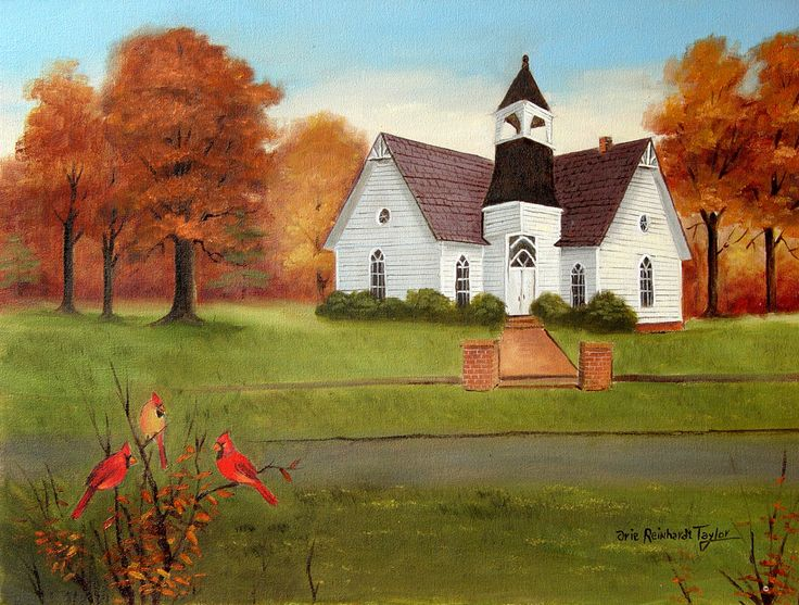 Folk Art Painting, Original Painting, 18x24 Framed Art, Canvas Art, Country Church, Autumn Scene, Cardinals, North Carolina Art, Arie Taylor by jagartist on Etsy