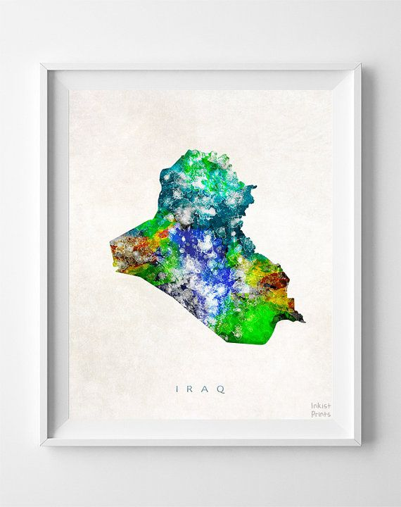 Iraq Map Print Baghdad Print Iraq Poster Home by InkistPrints