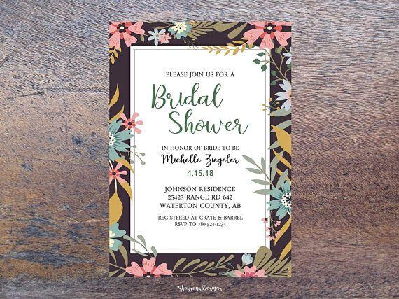 Whimsical Bridal Shower Invitation Printable // Floral Bridal Shower Invite // Spring Rustic Wedding Shower Invite // Brush Script Lettering