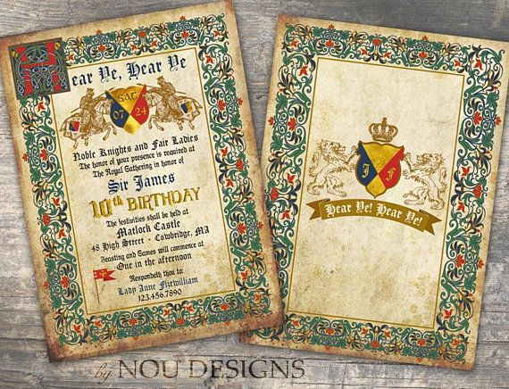 Knights Jousting Medieval Manuscript Birthday Invitation Card