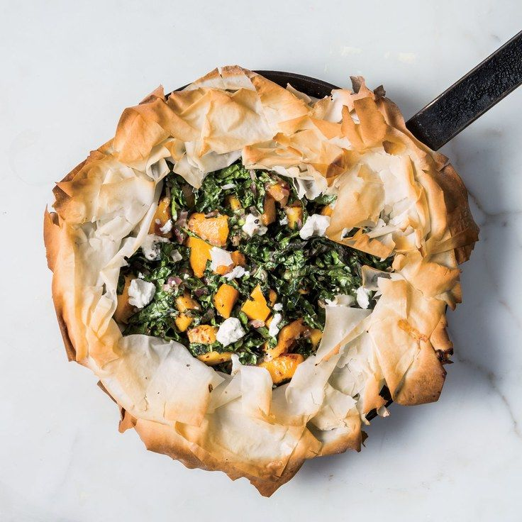 Skillet Phyllo Pie With Butternut Squash, Kale, and Goat Cheese ~ Mains, vegetables