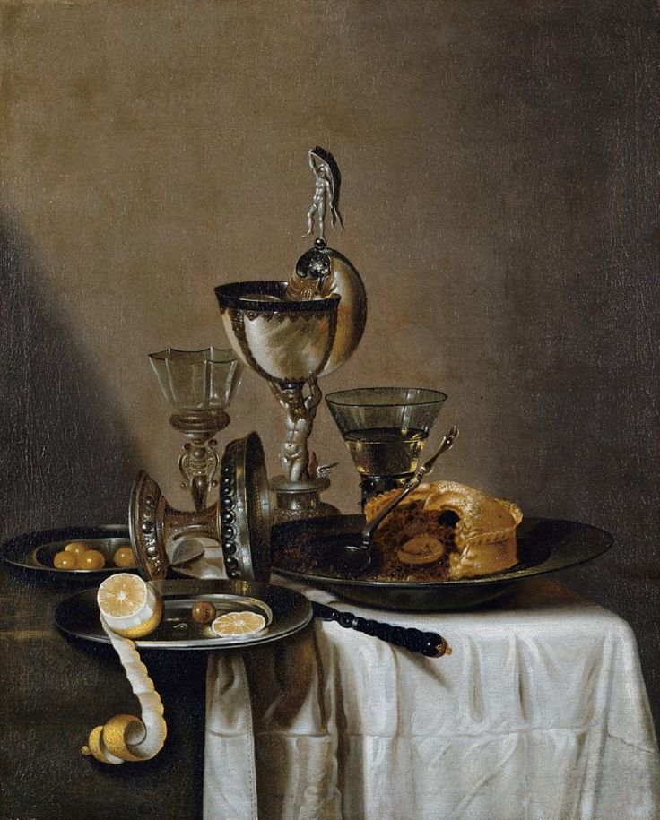 Willem Claesz Heda, STILLEBEN MIT NAUTILUSPOKAL, SILBERNER TAZZA, WEINGLÄSERN, EINER PASTETE, ZITRONE UND OLIVEN. Auktion 889 Alte Kunst, Lot 1072