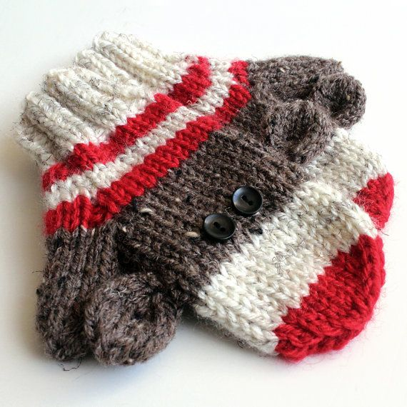 Love sock monkey, makes me smile, but need adult size.  Etsy listing at https://www.etsy.com/listing/218345712/kids-knit-sock-monkey-mittens-2-to-4