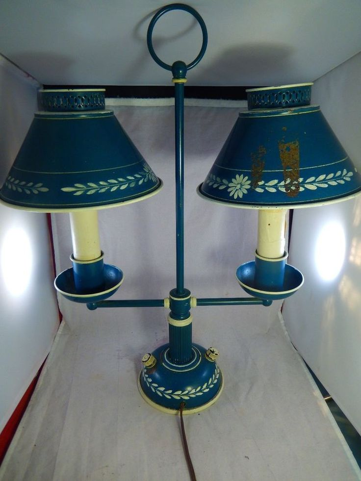 Vintage Double 2 Arms Student Desk Parlor Lamp w/ Blue Tin Metal Pierced Shades