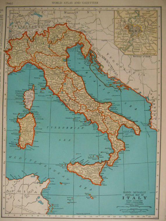 ITALY Map. 1941. 11x14. Switzerland Map. Rand McNally Aqua ...