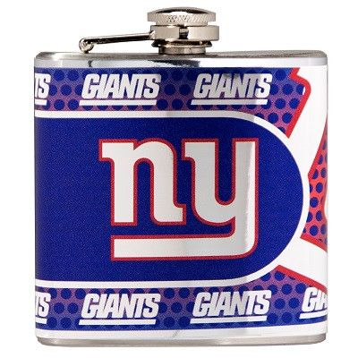 This NFL officially licensed New York Giants 6 oz. hip flask is decorated with high quality metallic graphics of the Giants logo wrapped around the entire surface. The flask is made of stainless steel