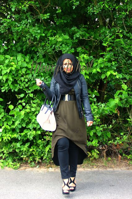 mangowhirl modest fashion hijab hijab fashion dipped hem mango leather jacket steve madden heels