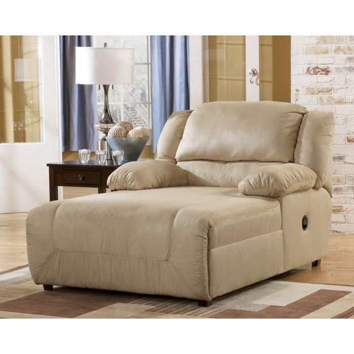 Indoor oversized chaise lounge hogan khaki press back for Ashley furniture chaise lounge couch