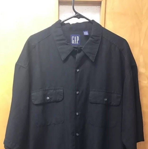 GAP Men's Black Linen Button Down Shirt EUC size Large