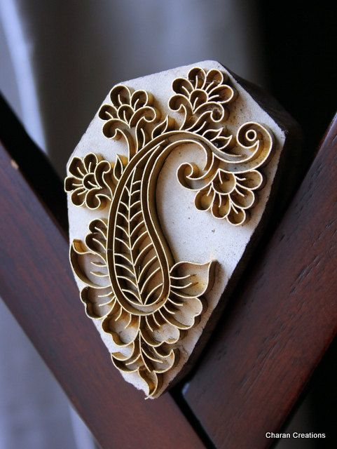 Handmade Indian Wood and Brass Textile Stamp- Paisley with Flowers Motif #Paisley Patterns