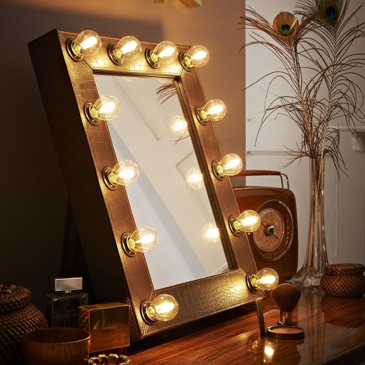 Make Up Mirror Illuminated Mirror Lights Brown Faux Crocodile Hollywood Theatre Dressing Room Table Free Standing or Wall Mounted by TheWallStickerComp on Etsy https://www.etsy.com/listing/253875955/make-up-mirror-illuminated-mirror-lights