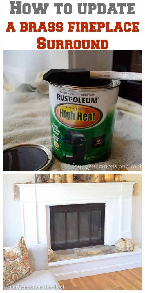 How to update a fireplace surround {brass} - Four Generations One Roof.  This I can do - so much easier than spray painting it!  kh