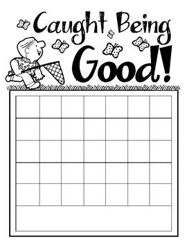 "FREE Download! ""Caught Being Good!"" Positive behavior incentive sticker chart. Includes space to write the child's name on the chart and spaces for 35 stickers. Appropriate for children ages 2 through 8."