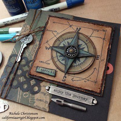 Richele Christensen: Travel Blueprint stamp http://californiaartgirl.blogspot.com/2013/02/enjoy-journey-card.html#