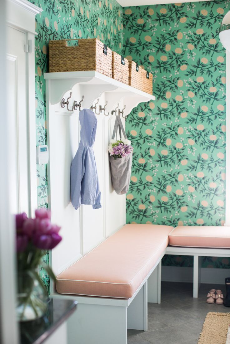 Green Floral wallpaper in mudroom   Bria Hammel's Home Tour   Bria Hammel Interiors   Wallpaper: Peonies (Mint) designed by Rifle Paper Co for Hygge & West