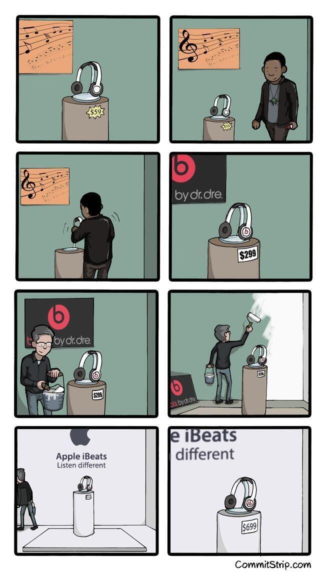 Beats by money by apple via http://anotherwhiskyformisterbukowski.com/ and commitstrip.com