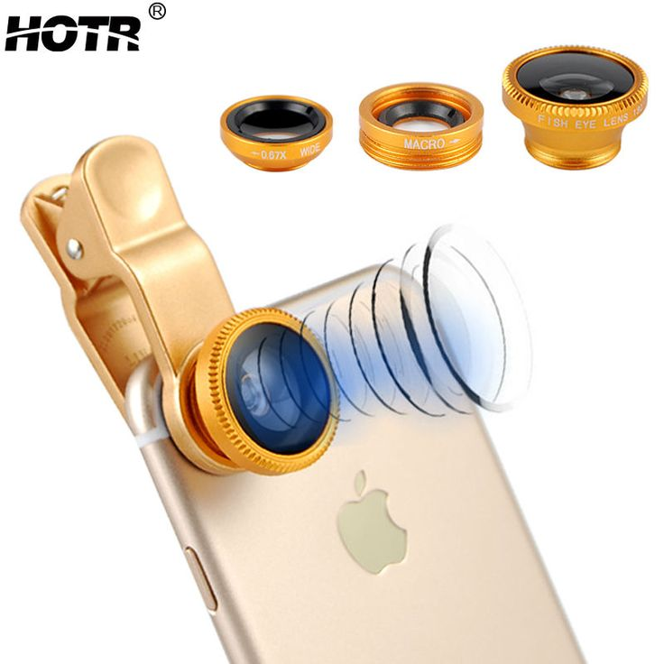 Universal Gold Wide Angle LENS, Fish Eye Camera Lens,Clear Macro Cell Phone Lens For Iphone 6 Plus For Samsung For Xiaomi 3 in 1