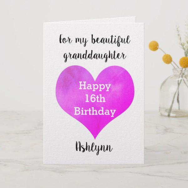 Happy 16th Birthday Granddaughter Card Zazzle Com 16th