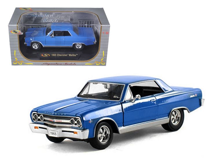 1965 Chevrolet Malibu SS Blue 1/32 Diecast Model Car by Signature Models - Brand new 1:32 scale diecast model of 1965 Chevrolet Malibu SS Blue die cast car by Signature Models. Brand new box. Rubber tires. Dimensions approximately L-6. Has opening hood, doors and trunk. Made of diecast with some plastic parts. Detailed interior, exterior, engine compartment. Please note that manufacturer may change packing box at anytime. Product will stay exactly the same.-Weight: 1. Height: 5. Width: 9…