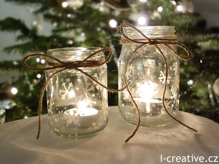 "Christmas lanterns - simple & pretty jars, painted with permanent varnish marker & tied with twine - from i-creative.cz ("",)"