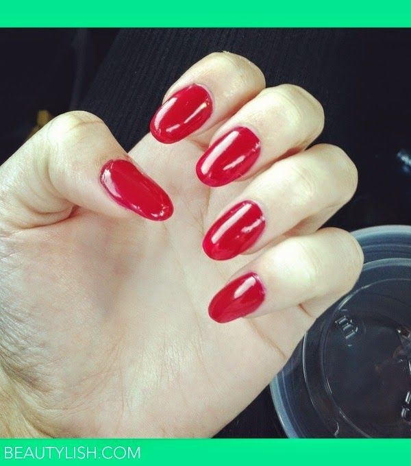 Almond acrylic nails red