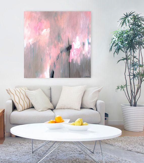 Large Art Abstract Original Painting Pink Grey By SarinaDiakosArt