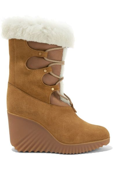 Chloé - Shearling-trimmed Suede Wedge Boots - SALE20 at Checkout for an extra 20% off