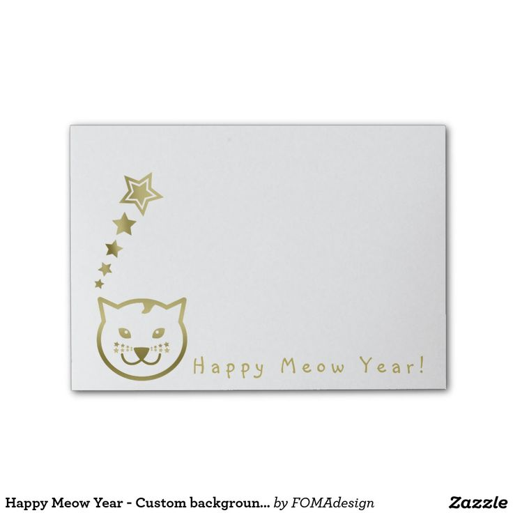 Happy Meow Year Faux Gold Cat Face and Stars - Custom background color Post-it® Notes #fomadesign