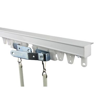 Features:  -Includes aluminum ceiling track(s), one pair of white master carriers, 2 batons, 2 metal end stops, carriers, and mounting hardware.  -Color: White.  -Material: Aluminum.  -Track can be pa