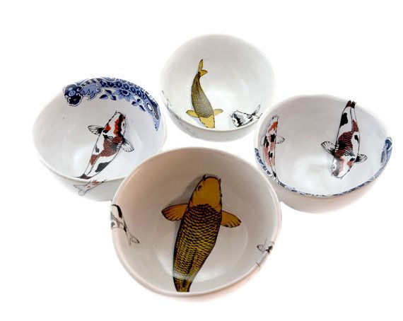 Koi Serving Bowls by NaturesCrossroad on Etsy