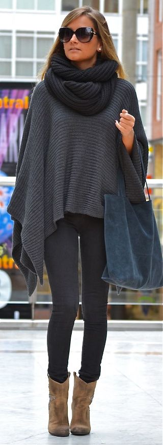 JDStyle/Chic/Poncho/Denim/Black/Grey/Boots/Brown/Sunglasses