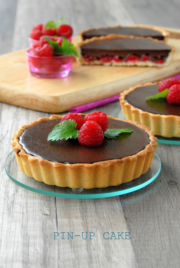 Raspberry and chocolate mini tarts