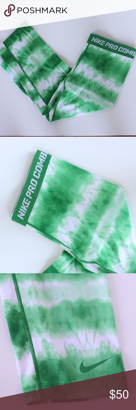 Nike Pro Combat Compression Tie Dye Leggings These green tie dye leggings are like new! There are no signs of wear.  Nike Pro Combat Compression Tie Dye Leggings Nike Pants Leggings