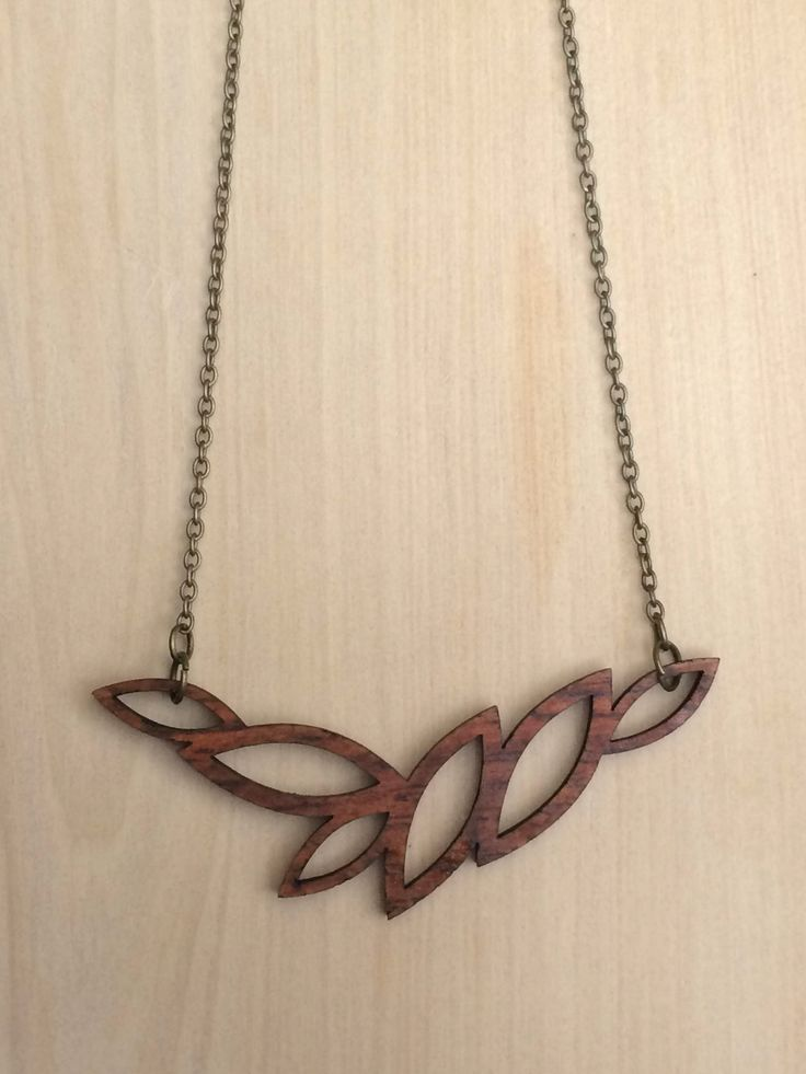 Rhodesian Teak necklace. Laser cut.
