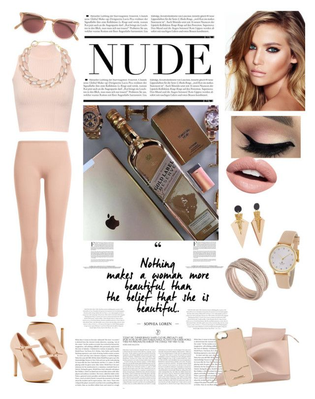 """""""Nude Outfits - Hanging Out"""" by allyssister on Polyvore featuring WearAll, Valentino, DIANA BROUSSARD, Swarovski, Toolally, Nevermind, Oliver Peoples, Charlotte Tilbury, Rebecca Minkoff and Kate Spade"""