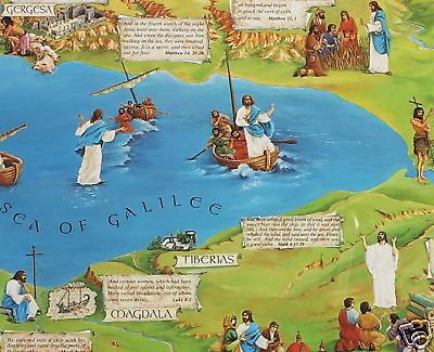 Jesus Christ ministry in the Holy land Sea of Galilee Kinneret Lake, Israel miracle of the fishermen, feeding the masses ( fish and bread multiplication), sermon on the mount, Tiberias, Capernaum, baptism site (yardenit) mount Tabor  site of the Transfiguration of Jesus.