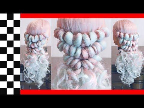 """Свадебная причёска с резинками - """"Бусы"""" - Очень легко! - Hairstyles by REM - YouTube"""