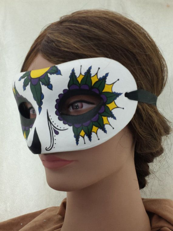 Hand Painted Mardi Gras Paper Mache Mask by EquinoxMasquerade