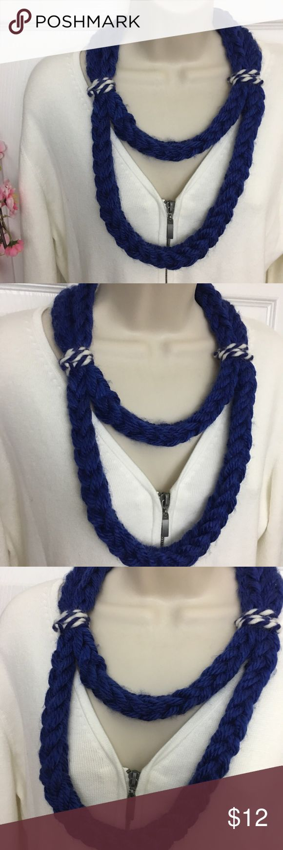 #Buy1Give1 Handmade Finger Knit Royal Blue & White Fun Royal Blue & white two layer knit necklace! Made with acrylic yarn. You just slip it over your head! Comes new with tags.  #BuyOneGiveOne: For every scarf purchased, I make and donate one to Dayton Ohio's St. Vincent Women & Children's Shelter. I will message you a picture of the scarf made from your purchase! T's Creative Corner Jewelry Necklaces