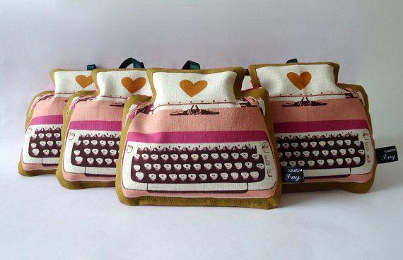 Pink typewriter lavender bag in Melody Miller Ruby Star Shining 'Love Typewriters' fabric by IvyArch @Etsy