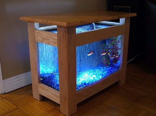 wooden fish tank coffee table
