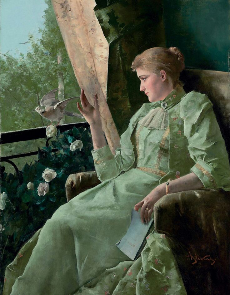 Symphonie en vert. Alfred Stevens (Belgian 1823-1906). Oil on canvas.
