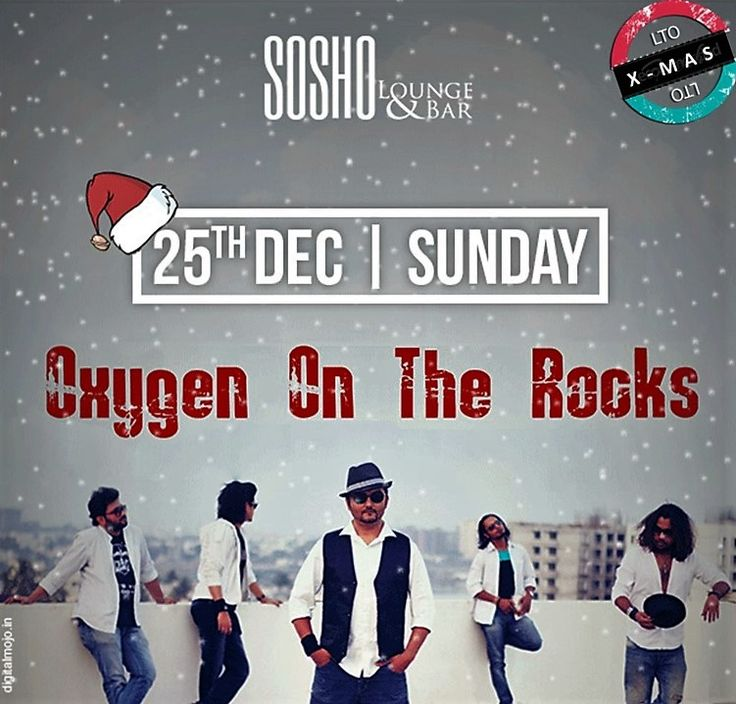 When #SANTA stops for some #OXYGEN ON THE #ROCKS !  This #Christmas head to the SOSHO Lounge & Bar for a dose of MUSIC-OXYGEN with Oxygen On The Rocks - Hindi Rock Band, Bangalore. Its gonna be soo.. gud .. #SANTA might drop in as well ;) 25th DEC, 8 PM is when it gets real #christmasy !  Book #OOTR for ur music nites @ www.localturnon.com/bookings  #turn #ON #music || #turnON #XMAS || #turnON #Happiness !