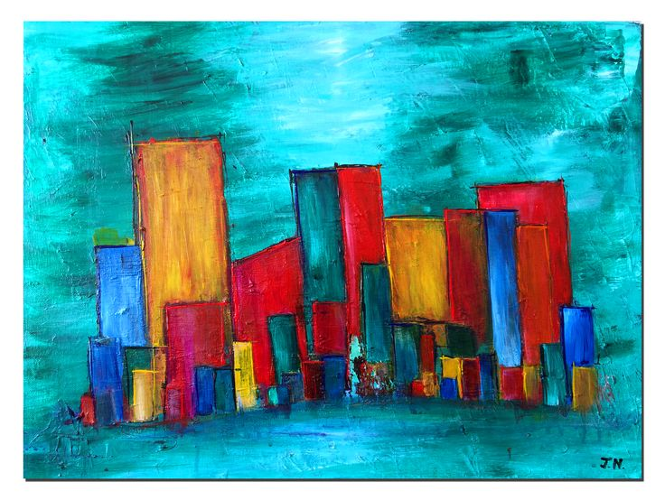 Cityscape #4, Acrylic on Canvas #art #painting #visualarts #acrylicpainting #cityscape