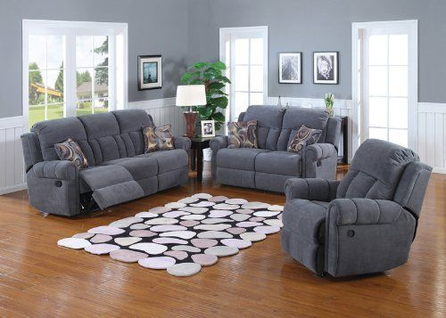 2 Pc Atlantic Blue Titan Chenille Fabric Upholstered Sofa And Love Seat Set With Recliner Ends This Drop Down Table In Center Recliners