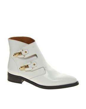 Image 1 ofMiista Pandora White Buckle Boots