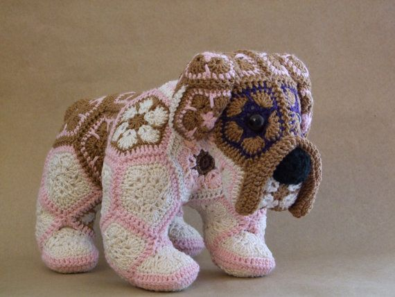 Custom handmade Crochet African Flower Bulldog $48.77  After discovering this fabulous pattern for crochet African Flower Bulldog by Heidi Bears her ravelry shop, I just couldnt help but make them