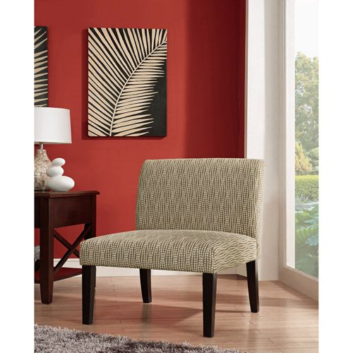Armless Accent Chair, Brown Dot