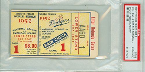 1952 World Series Yankees at Dodgers - Game 1 Ticket Stub BRK 4-2 HR Jackie Robinson, Duke Snider WP Joe Black [VG/EX] PSA/DNA Authentic Oct 1 1952 Ticket grades VG/EX with just minor border chipping ** To view further for this item, visit the image link.
